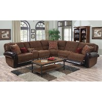 4PC/1252/AUBN/LLV/SC Auburn Brown 4 Piece Power Reclining Sectional Sofa - William
