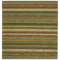 8' Square Green Striped Area Rug - Tara