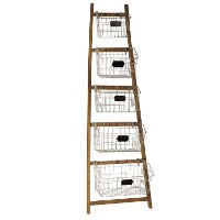 5 Tier Wood Rack with 5 Metal Baskets