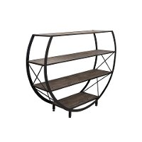 Reclaimed Wood and Metal 4 Shelf Circle Bookcase