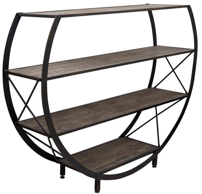 Reclaimed Wood And Metal 4 Shelf Circle
