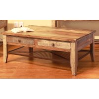 Pine Two Tone Wood Coffee Table - Tanmeron