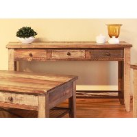 Pine two tone brown sofa table antique collection rc for Sofa table rc willey