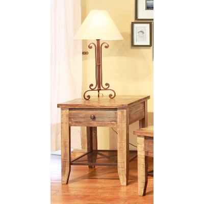 Pine Two Tone Brown End Table   Antique Collection