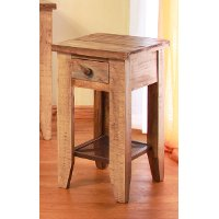 Pine Two Tone Rustic End Table - Tanmeron