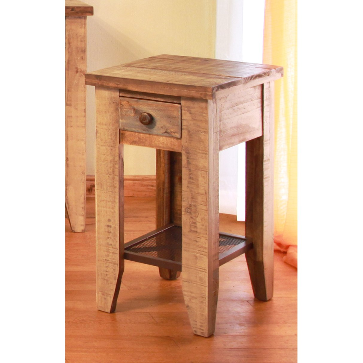 Pine Two Tone Rustic End Table Tanmeron