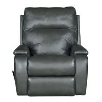 Charcoal Gray Leather Manual Rocker Recliner - Runway