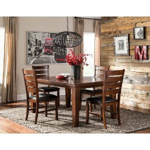 Walnut Transitional 5 Piece Dining Set