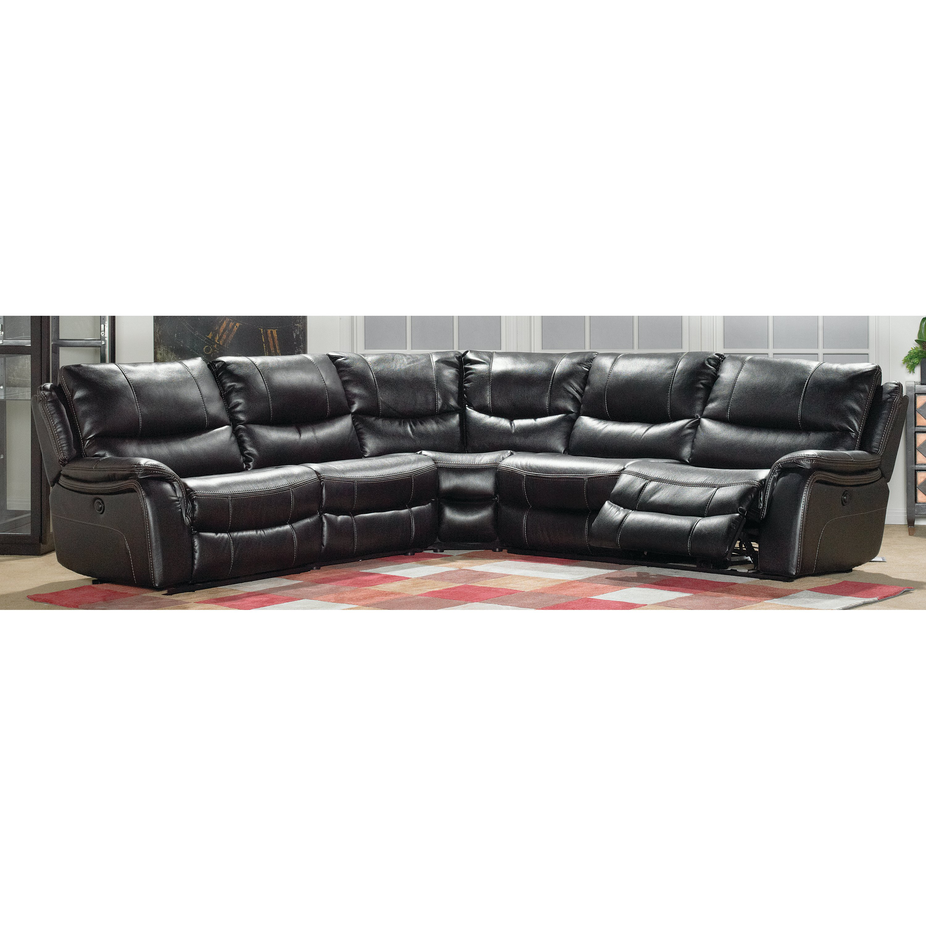 leather sectional living room furniture. Black 5 Piece Reclining Sectional - Wayne Leather Living Room Furniture