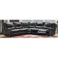 Black 5 Piece Reclining Sectional Sofa - Wayne