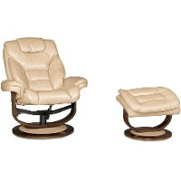 Taupe Swivel Recliner & Ottoman