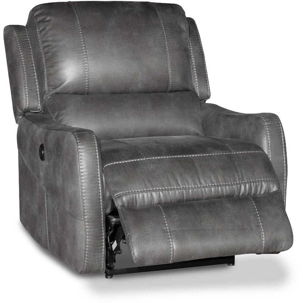 ... Gray Lay Flat Power Recliner