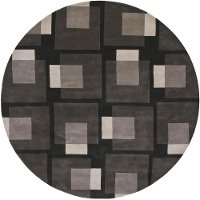 8' Round Contemporary Charcoal Gray Area Rug - Bense