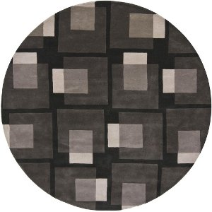 8 Round Contemporary Charcoal Gray Area Rug Bense