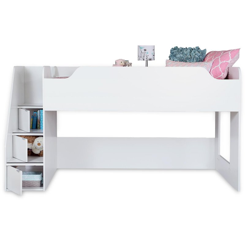 White Twin Loft Bed With Stairs Storage Mobby Rc Willey Furniture