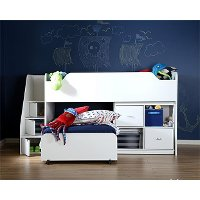 mobby morgan cherry twin loft bed with trundle and storage unit