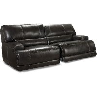Charcoal Leather-Match Power Reclining Sofa - Stampede