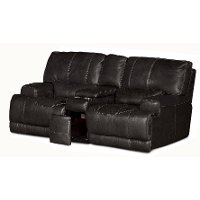 Charcoal Leather-Match Power Reclining Loveseat - Stampede