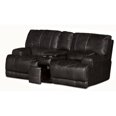 Charcoal Leather-Match Power Reclining Loveseat - St&ede  sc 1 st  RC Willey & Charcoal Leather-Match Power Reclining Loveseat - Stampede | RC ... islam-shia.org