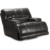Charcoal Leather-Match Power Recliner - Stampede