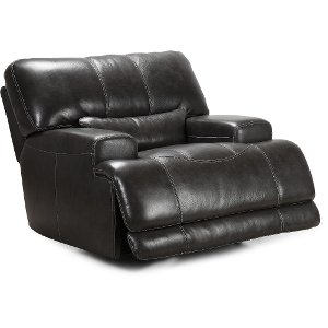 ... Charcoal Leather Match Power Recliner   Stampede