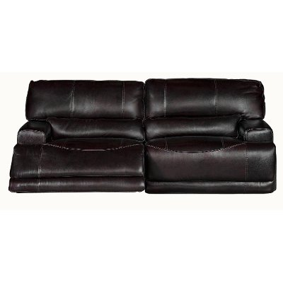 Blackberry Leather-Match Power Reclining Sofa - Stampede