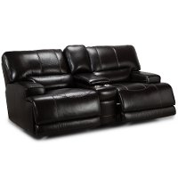 Blackberry Leather-Match Power Reclining Loveseat - Stampede