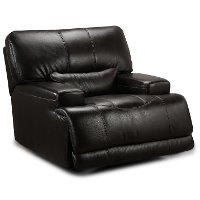 Blackberry Leather-Match Power Recliner - Stampede