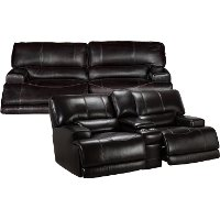 Blackberry Leather-Match Power Reclining Living Room Set - Stampede