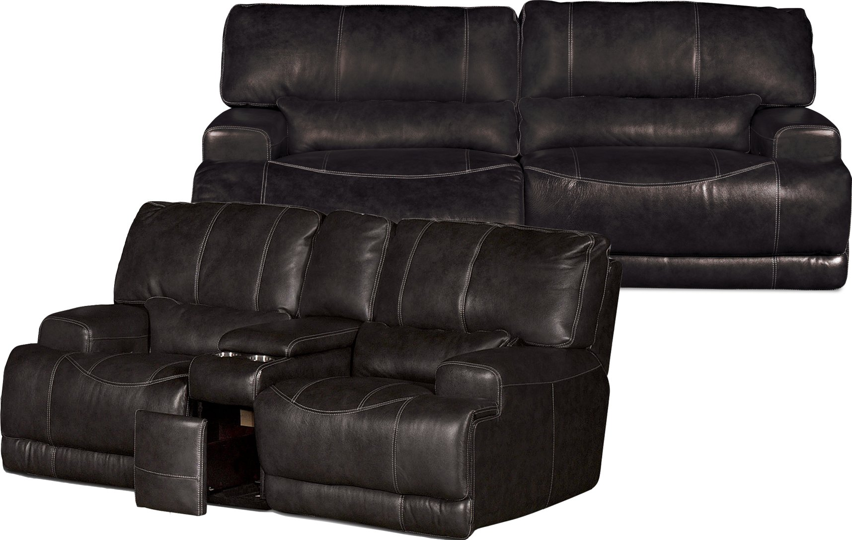 Charcoal Leather Match 3 Piece Power Reclining Sectional Stampede Rc Willey Furniture Store