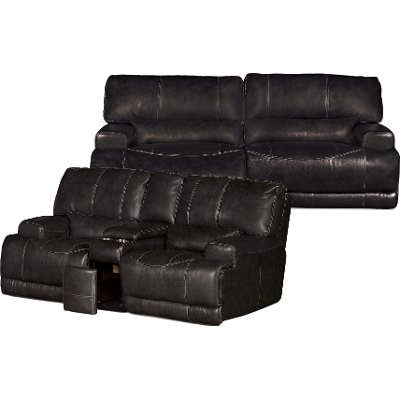 Charcoal Gray Leather Match Power Reclining Sofa U0026 Loveseat   Stampede