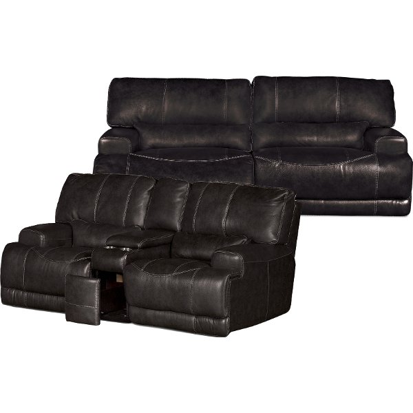 ... Charcoal Gray Leather Match Power Reclining Sofa U0026 Loveseat   Stampede