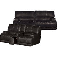Gray Leather-Match Power Reclining Living Room Set - Stampede