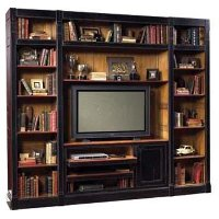 Black and Light Cherry 3 Piece Entertainment Center - French Accents
