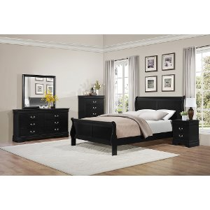 ... Clearance Black Classic 6 Piece Queen Bedroom Set   Mayville