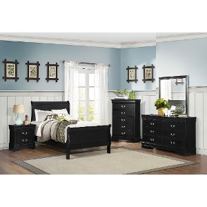 Clearance Black Classic 6 Piece Twin Bedroom Set