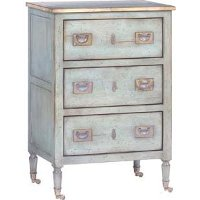 Light Blue and Brass 3 Drawer Small Chest Night Table