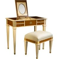 Light Cherry and Ivory Vanity and Stool