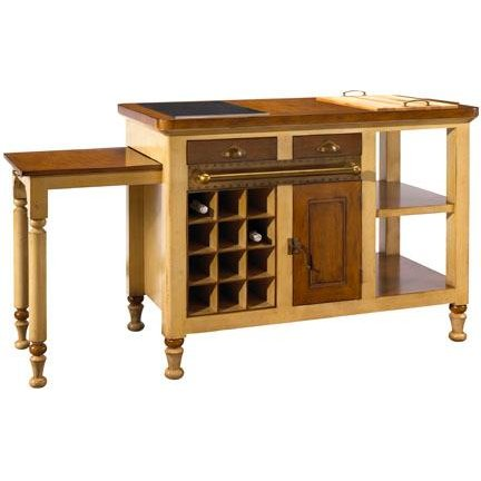Ivory-Beige and Light Cherry Gourmet Kitchen Island
