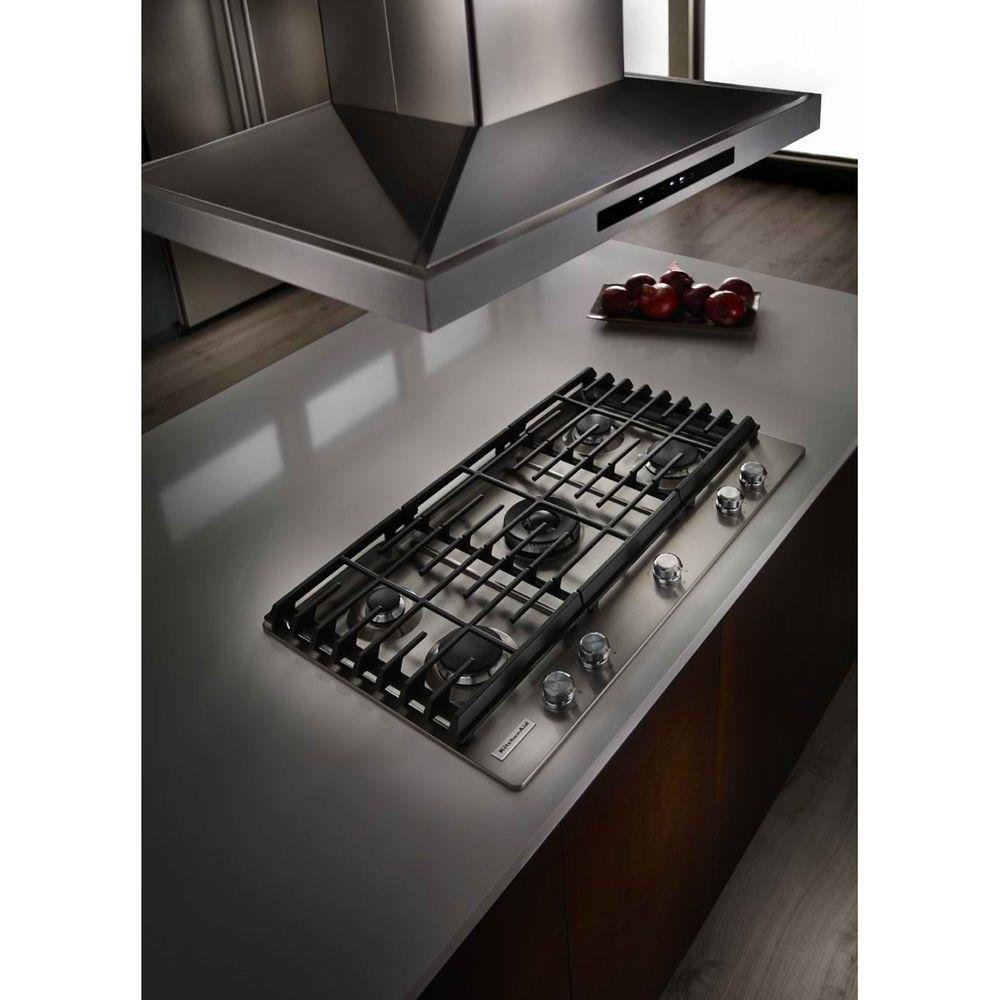 KitchenAid 36 Inch Gas Cooktop   Stainless Steel   RC Willey Furniture Store