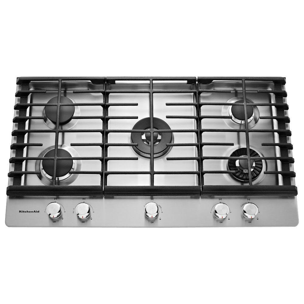 KitchenAid 36 Inch Stainless Steel Gas Cooktop | RC Willey Furniture Store