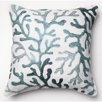 Ivory and Blue 18 Inch Throw Pillow