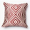 Red and Ivory 18 Inch Throw Pillow