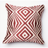 P0011 Red and Ivory 18 Inch Throw Pillow