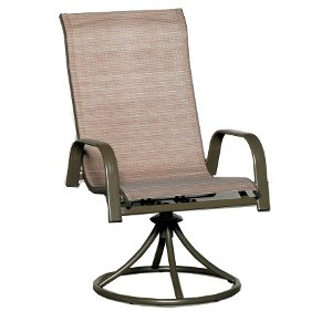 ... Clearance Woven Sling Swivel Patio Dining Chair