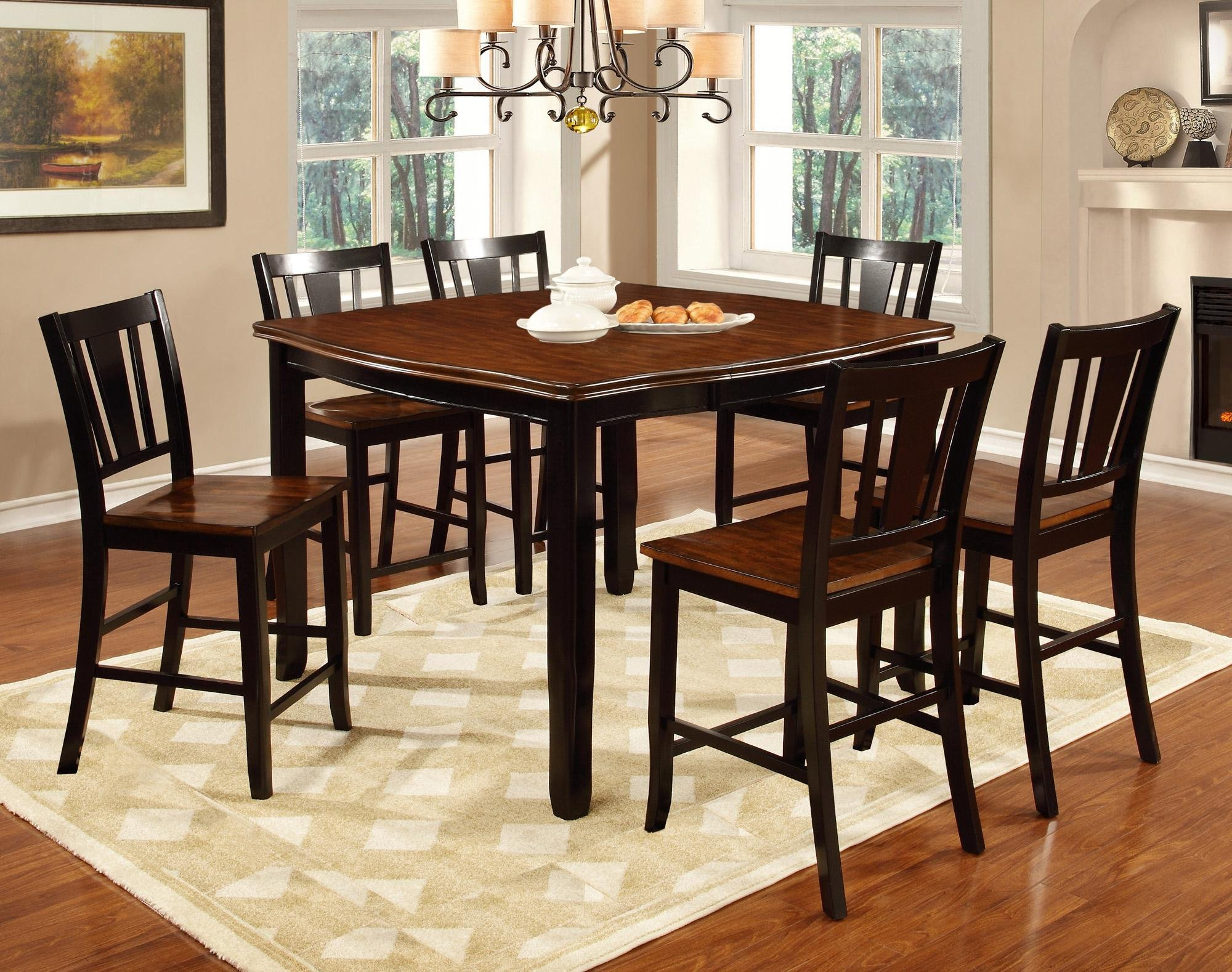 Dover Black U0026 Cherry 5 Piece Counter Height Dining Set