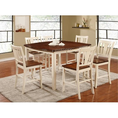 White and Cherry 5 Piece Counter Height Dining Set - Transitional ...