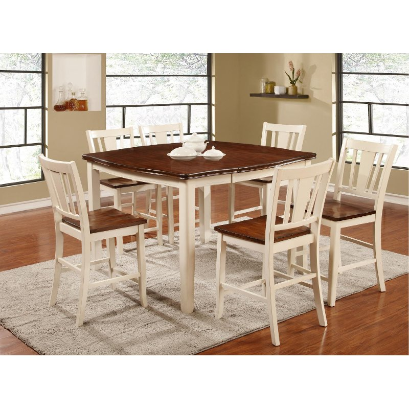 White And Cherry 5 Piece Counter Height Dining Set   Transitional Dover  Collection