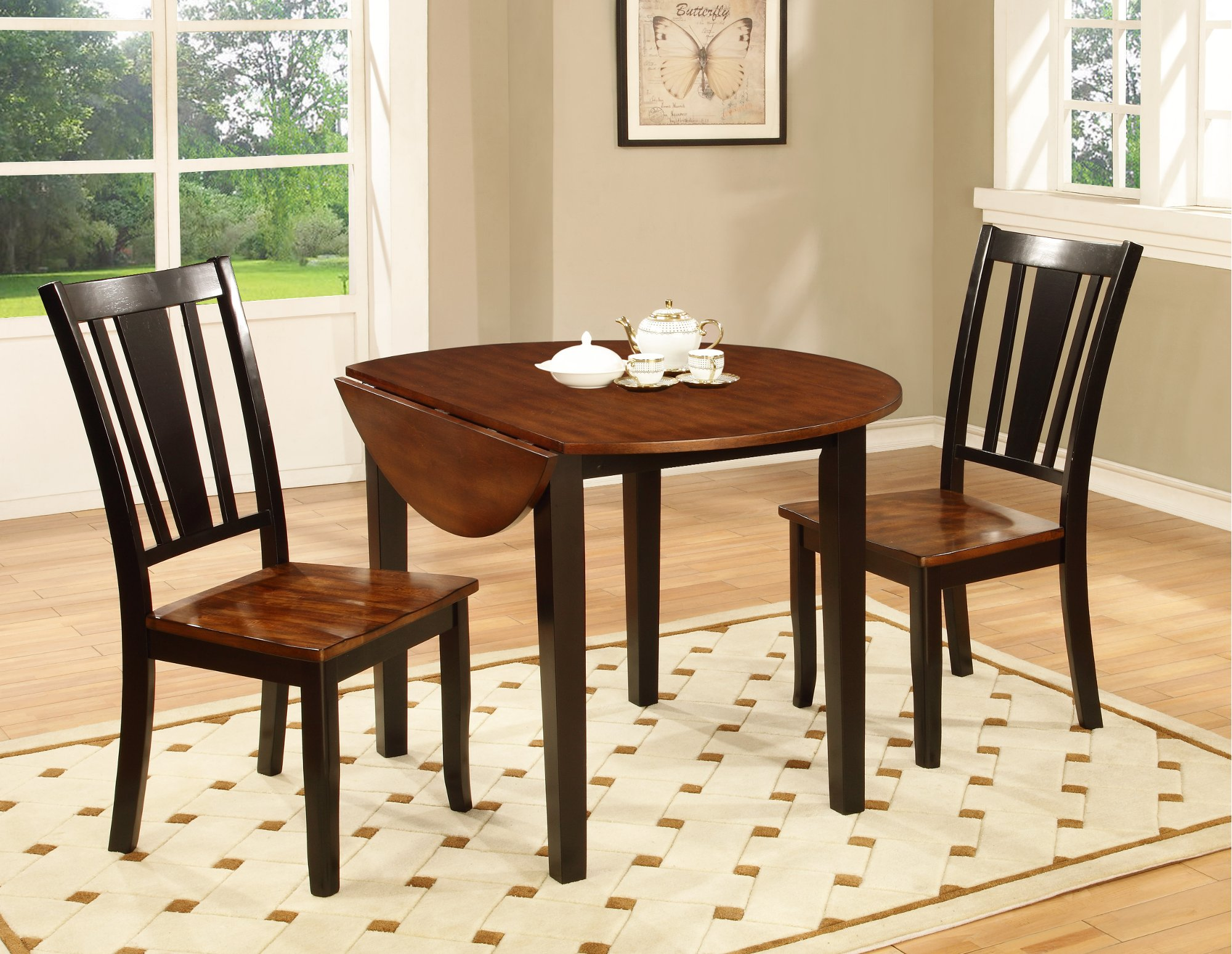 black and cherry 3 piece round dining set dover rc willey furniture store. Black Bedroom Furniture Sets. Home Design Ideas