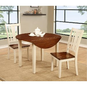 Clearance White And Cherry 3 Piece Round Dining Set